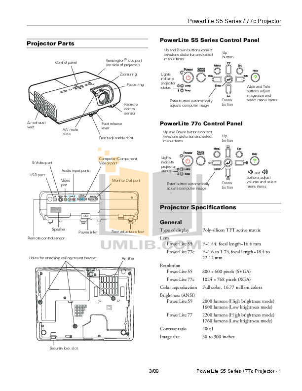pdf for Epson Projector PowerLite 77c manual