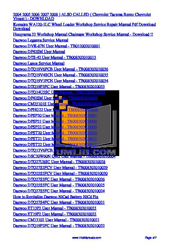 Daewoo Microwave MCD1311W pdf page preview