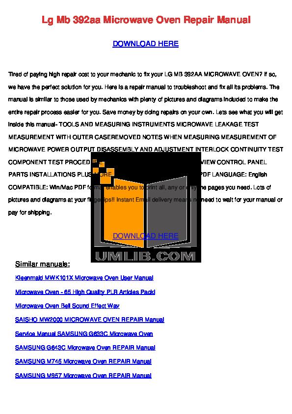 pdf for Daewoo Microwave MCD1311W manual