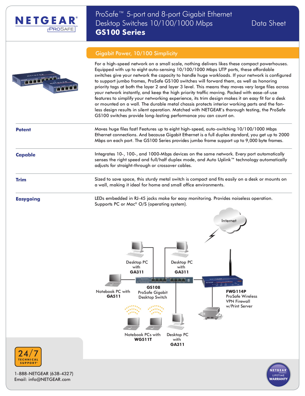 Download Free Pdf For Netgear Prosafe Gs108 Switch Manual