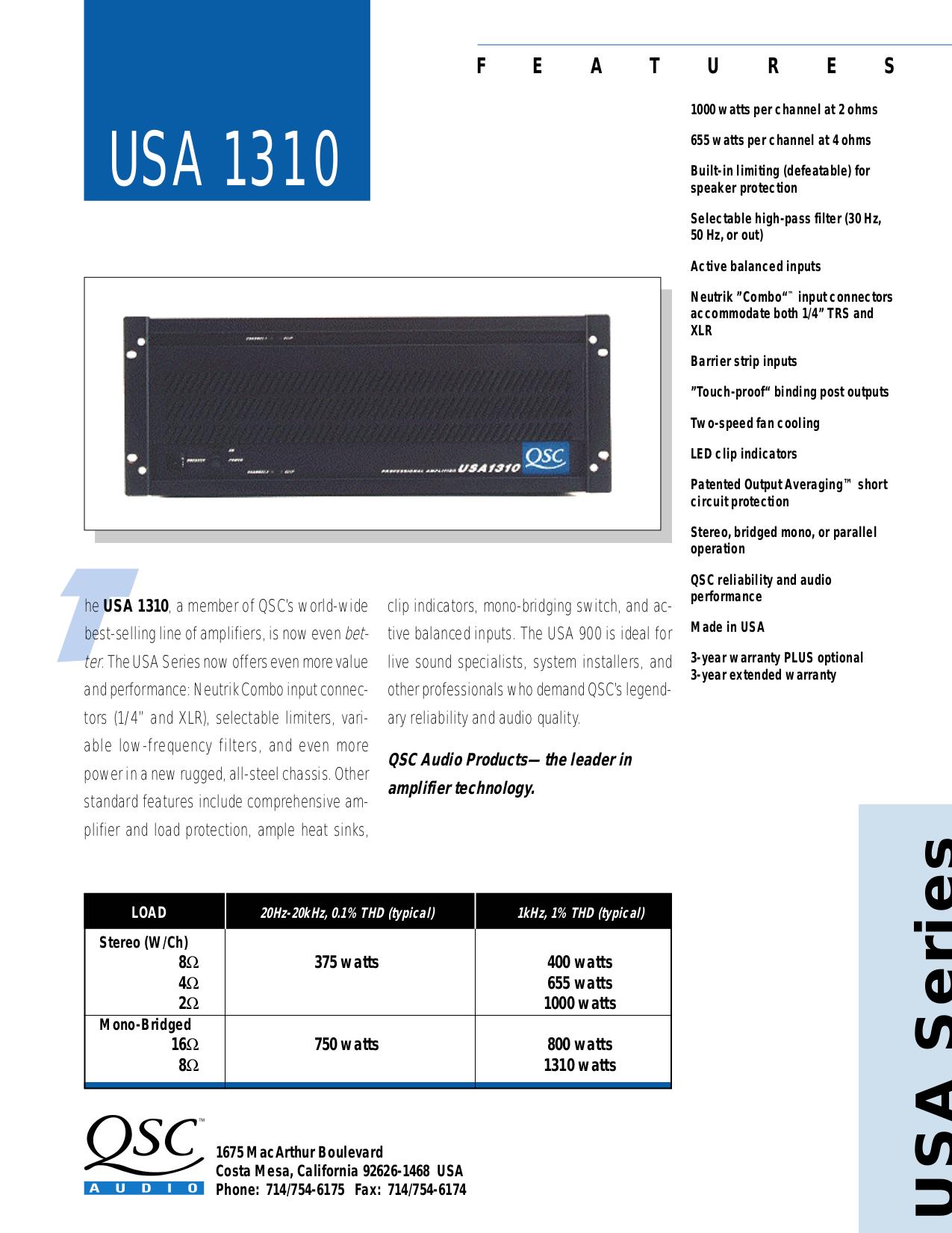 pdf for QSC Amp MX-1000a manual