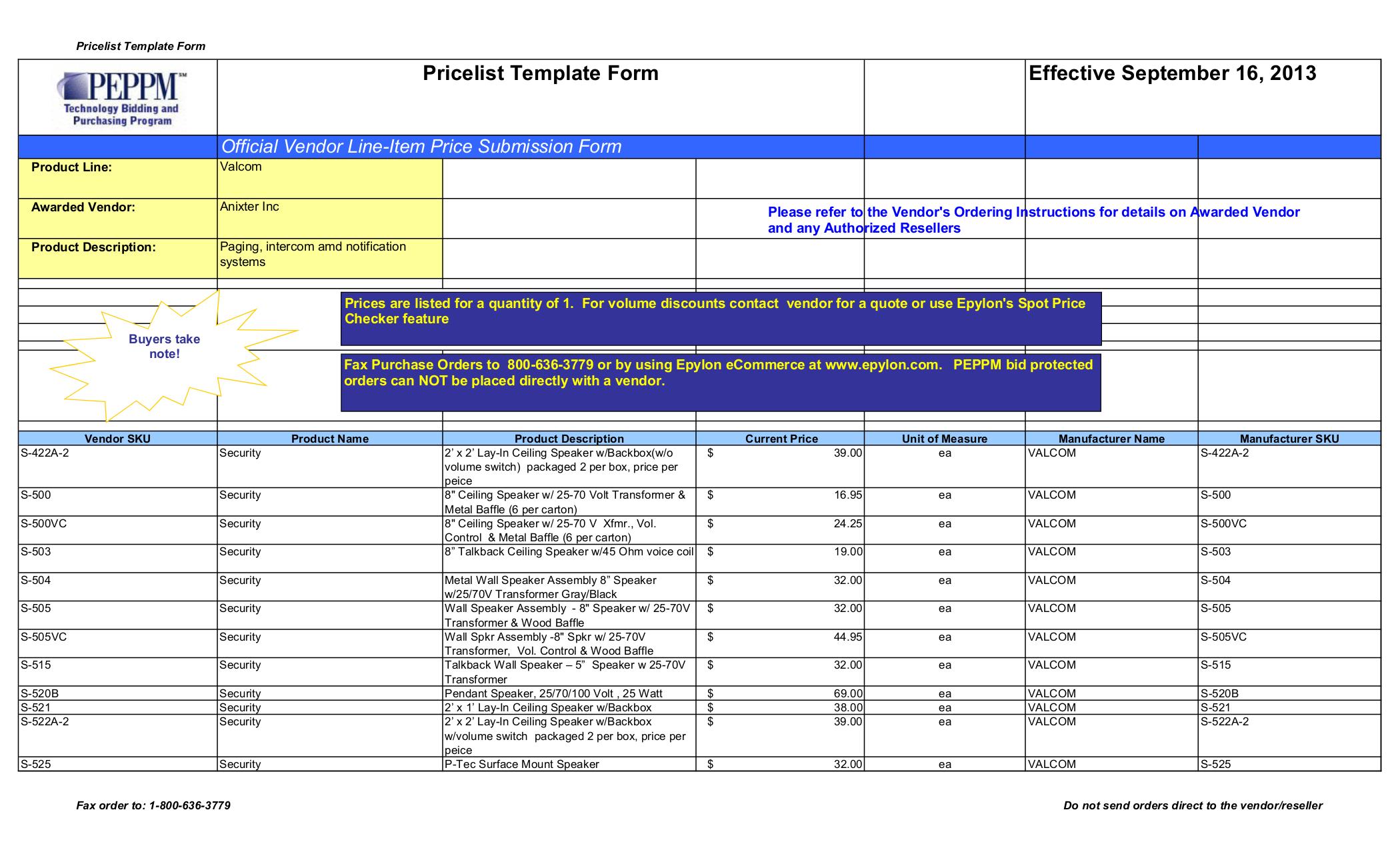 pdf for Valcom Speaker V1065A manual