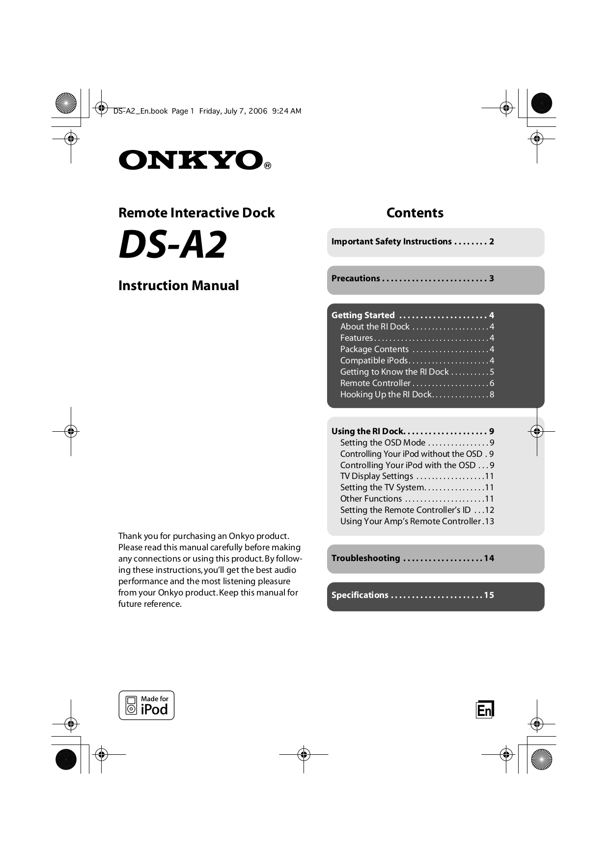 pdf for Onkyo Receiver TX-SR504 manual