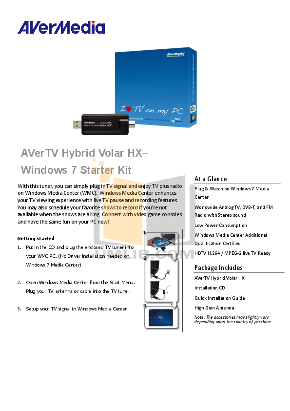 pdf for Avermedia Other AVerTV DVB-T Volar TV Tuner Cards manual