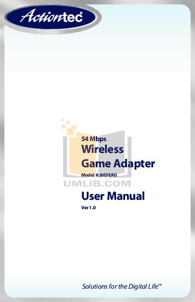 Pdf For ActionTec Wireless Router 54 Mbps Game Adapter Manual