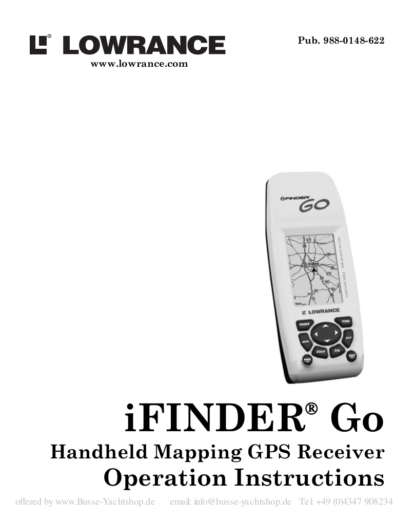 pdf for Lowrance GPS iFINDER GO2 manual