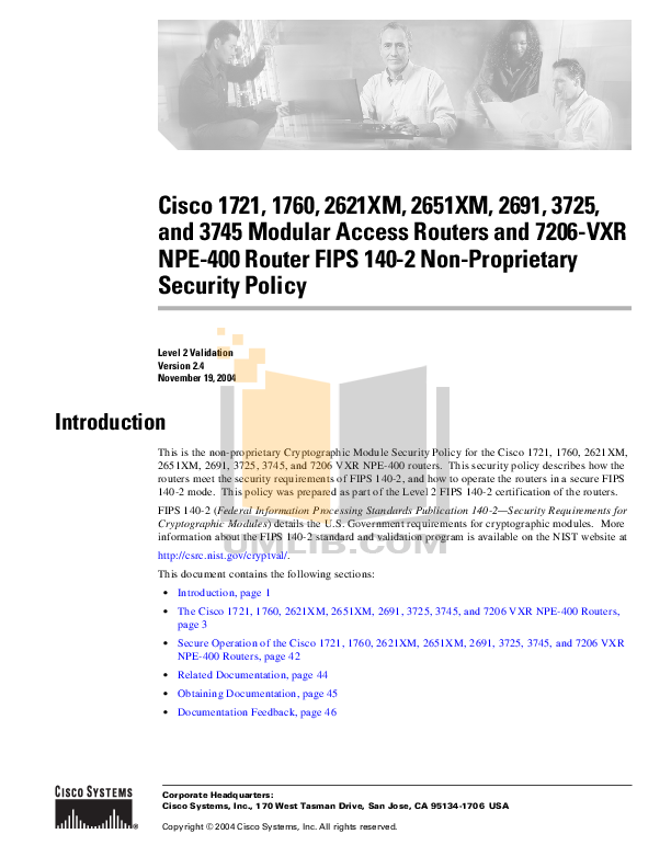 pdf for Cisco Router 2651XM manual