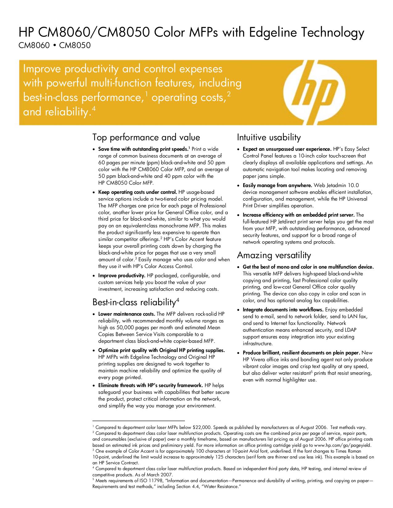 pdf for HP Multifunction Printer Laserjet,Color Laserjet CM8060 MFP manual
