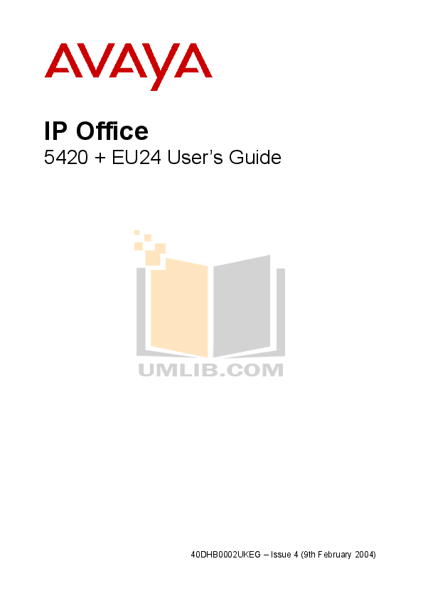 pdf for Avaya Telephone EU24 manual