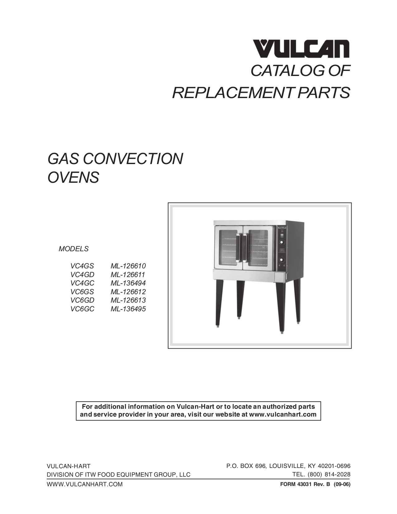 pdf for Vulcan Oven VC4GC manual