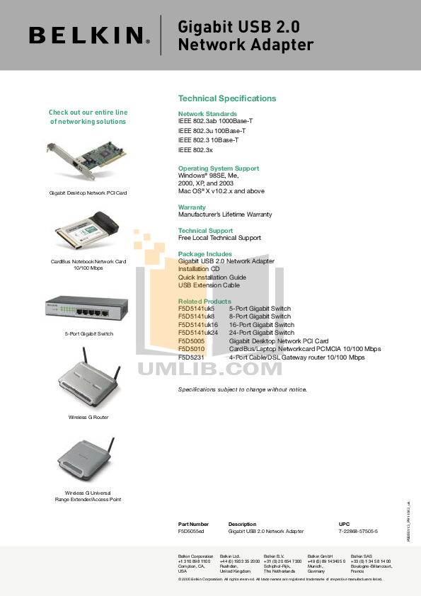 Belkin Router F5D5010 pdf page preview