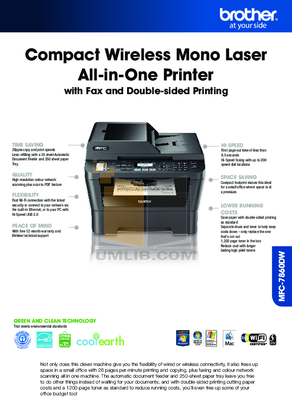 download free pdf for brother mfc 7860dw multifunction printer manual rh umlib com brother mfc7860dw manual brother mfc-7860dw driver xp