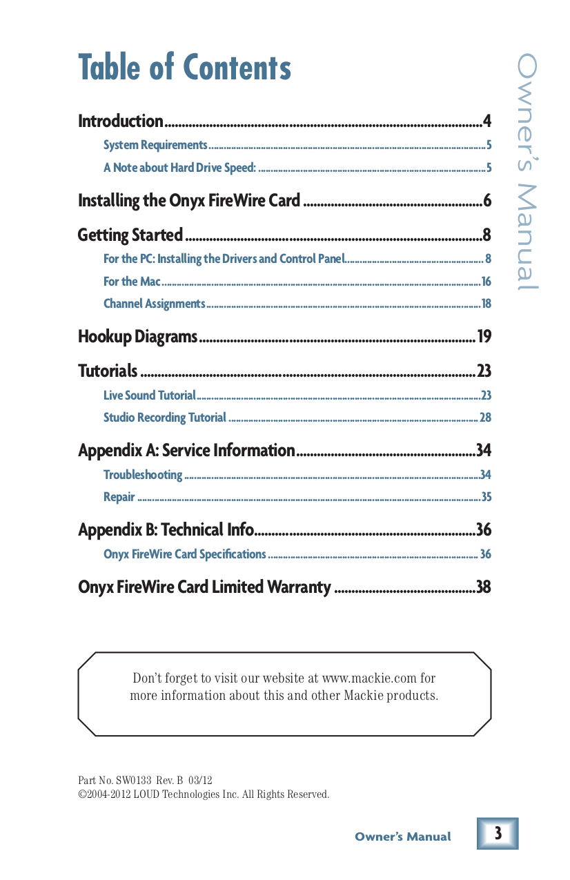 Pdf Manual For Mackie Other Onyx Firewire Option Card Diagram Page Preview