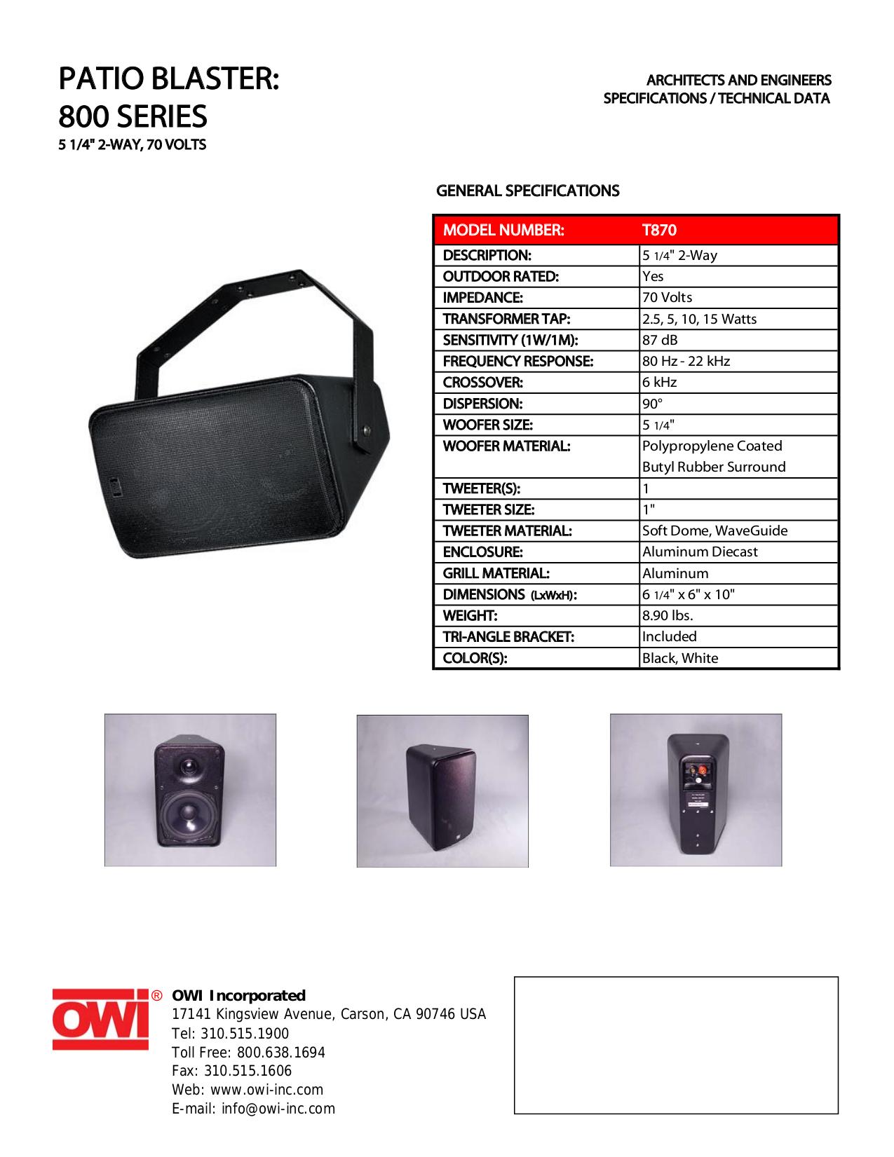 pdf for Owi Speaker T870 manual