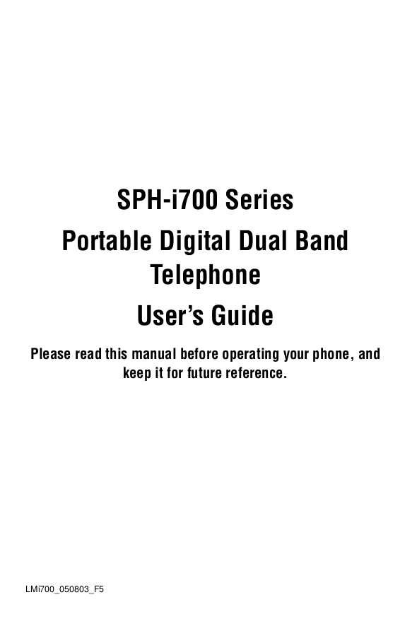 pdf for Samsung Cell Phone SPH-I700 manual
