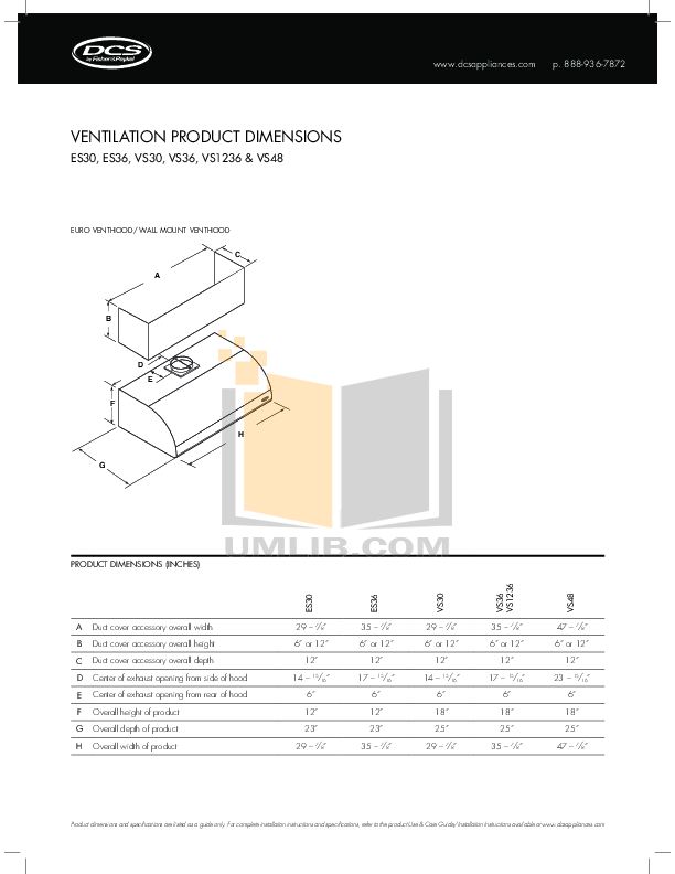 pdf for DCS Other VS30 Vent Hood manual