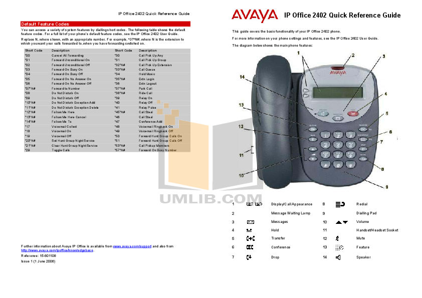 pdf for Avaya Telephone 2402 manual