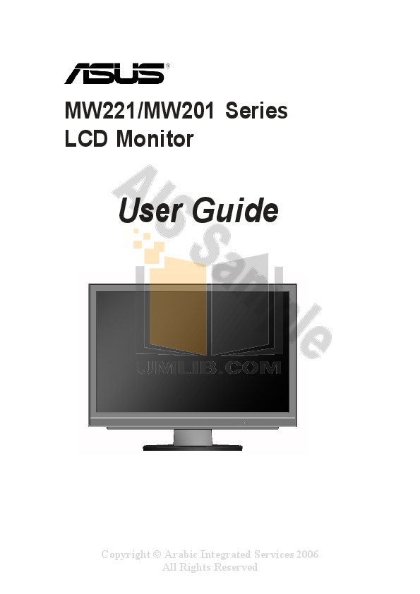 Asus Monitor MW221C pdf page preview