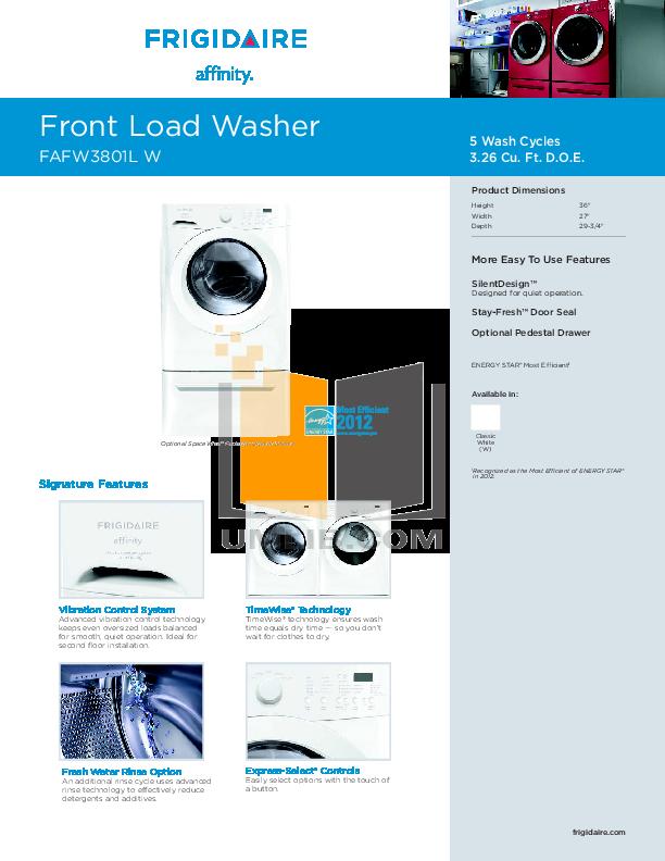pdf for Frigidaire Dryer Affinity FAQE7001L manual