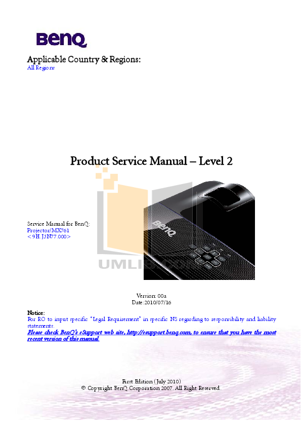 Benq Projector MX761 pdf page preview