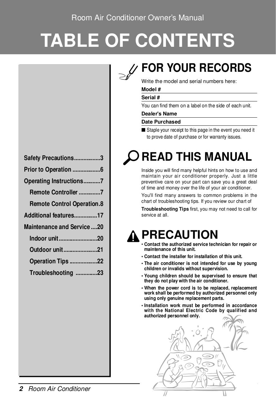 PDF manual for LG Air Conditioner LS-J07
