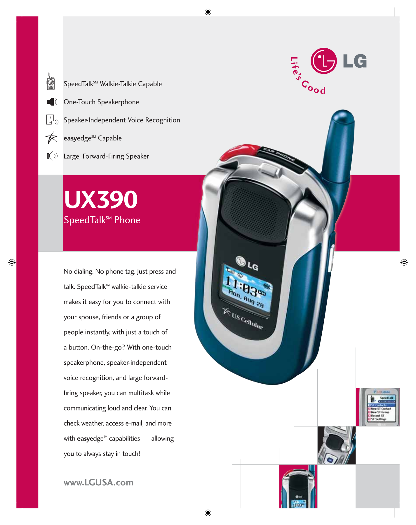pdf for LG Cell Phone UX390 manual