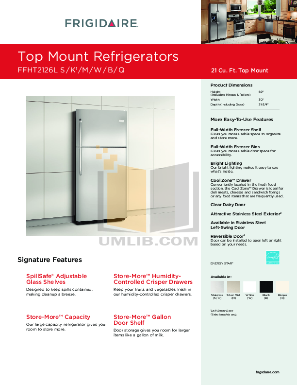 pdf for Frigidaire Refrigerator FFHT2126L manual