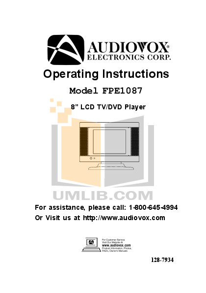 pdf for Audiovox TV FPE1087 manual