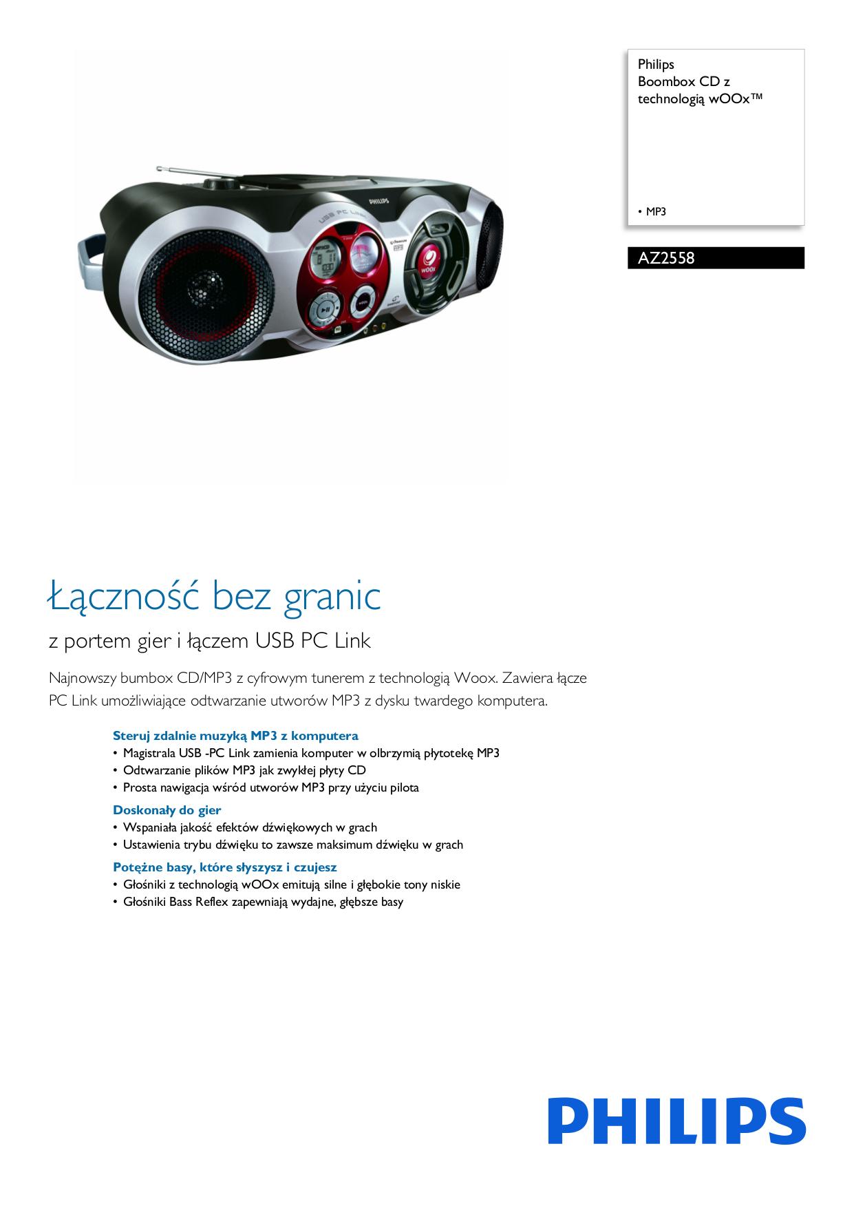 pdf for Philips Boombox AZ2558 manual