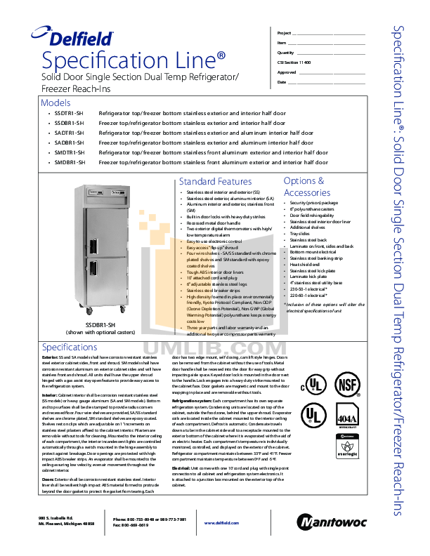 pdf for Delfield Refrigerator SSDBR1-SH manual