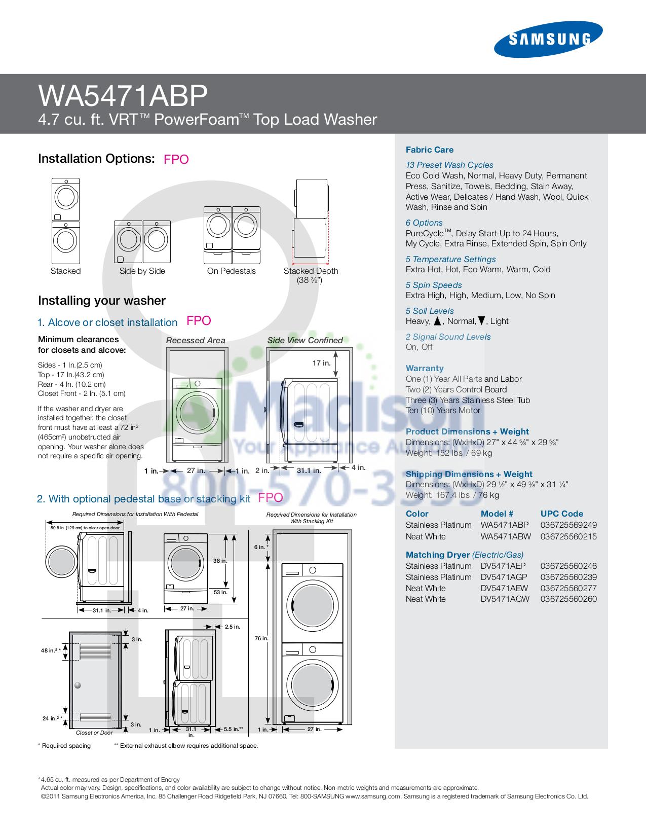 pdf manual for samsung washer wa5471abp