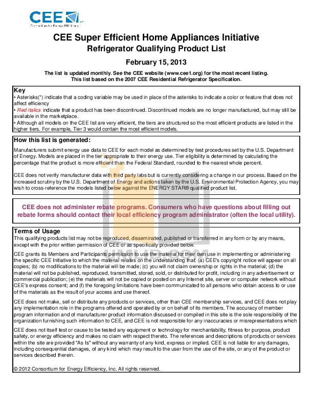 pdf for Frigidaire Refrigerator Gallery FGHG2344M manual