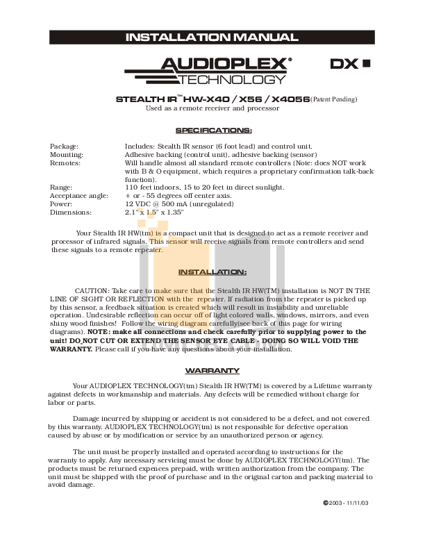 pdf for Audioplex Other TB-T Emitters manual