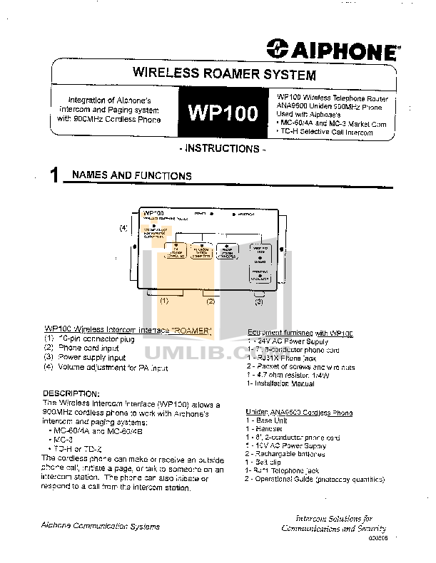 Aiphone Other WP100A Intercoms-Accessory pdf page preview