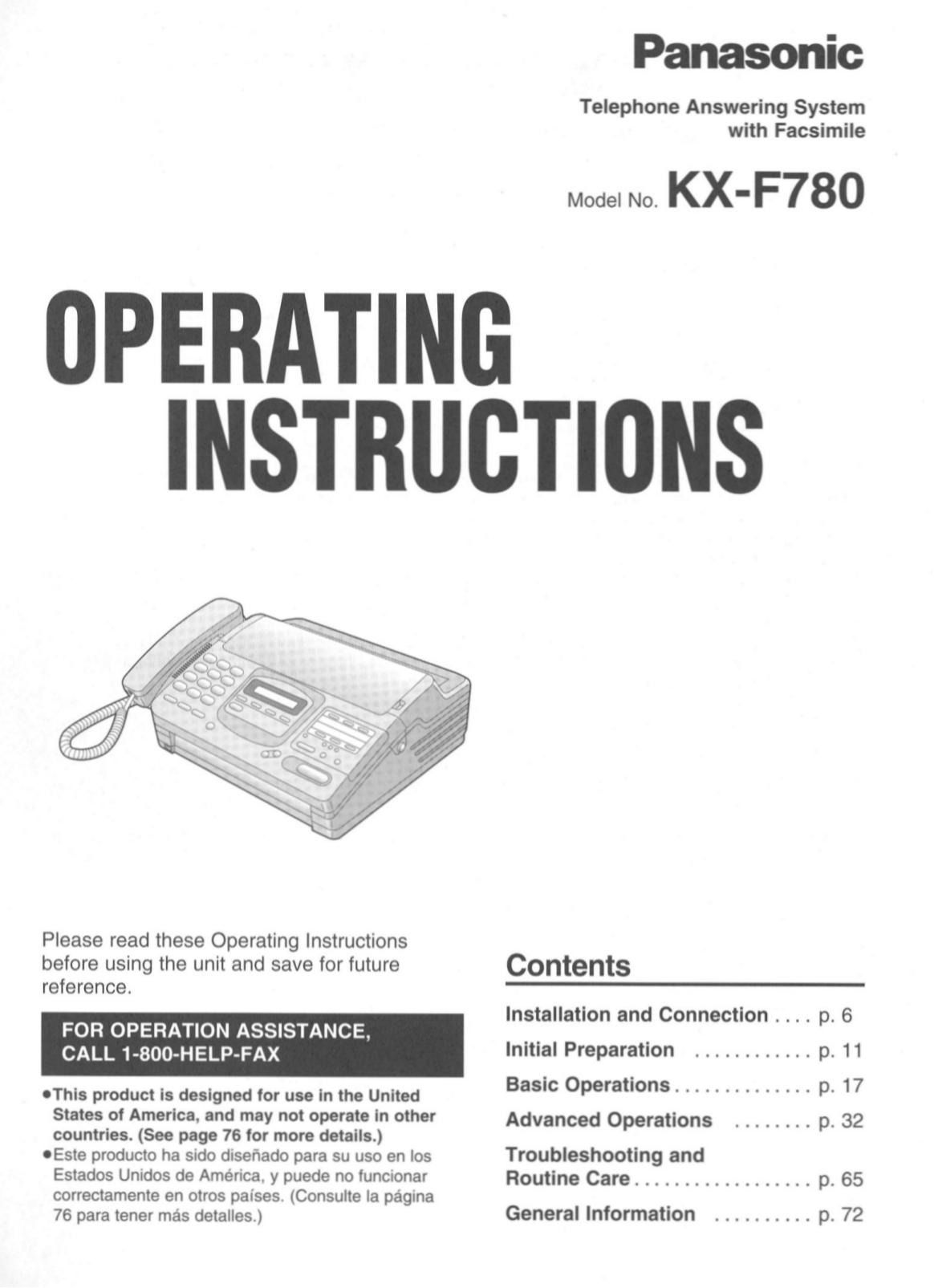 Инструкция для panasonic kx f780bx бесплатно