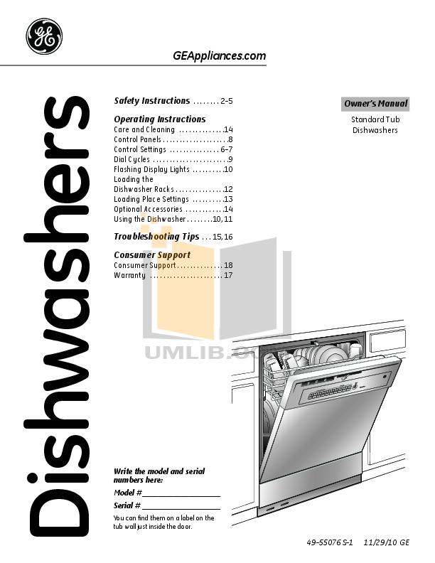 Download Free Pdf For Ge Gsm2260vss Dishwasher Manual