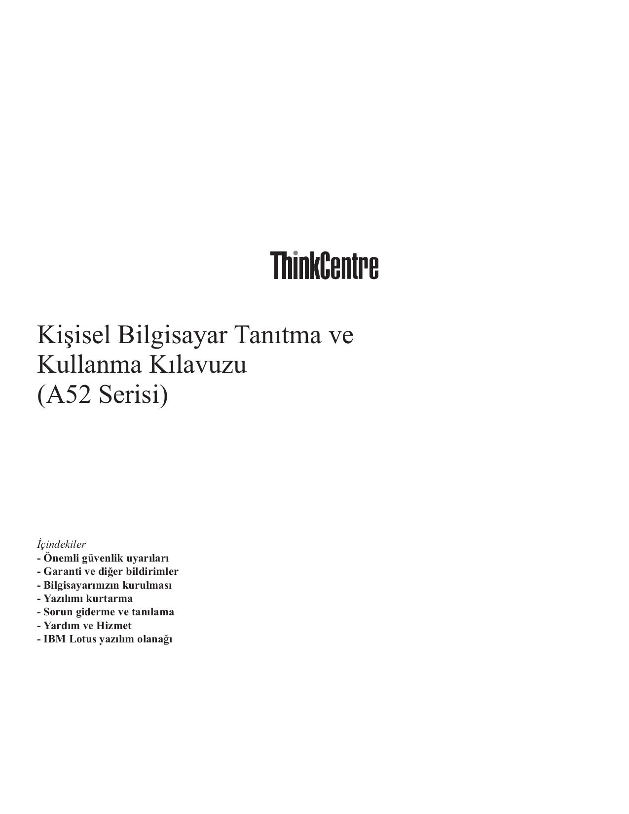 pdf for Lenovo Desktop ThinkCentre A52 8342 manual