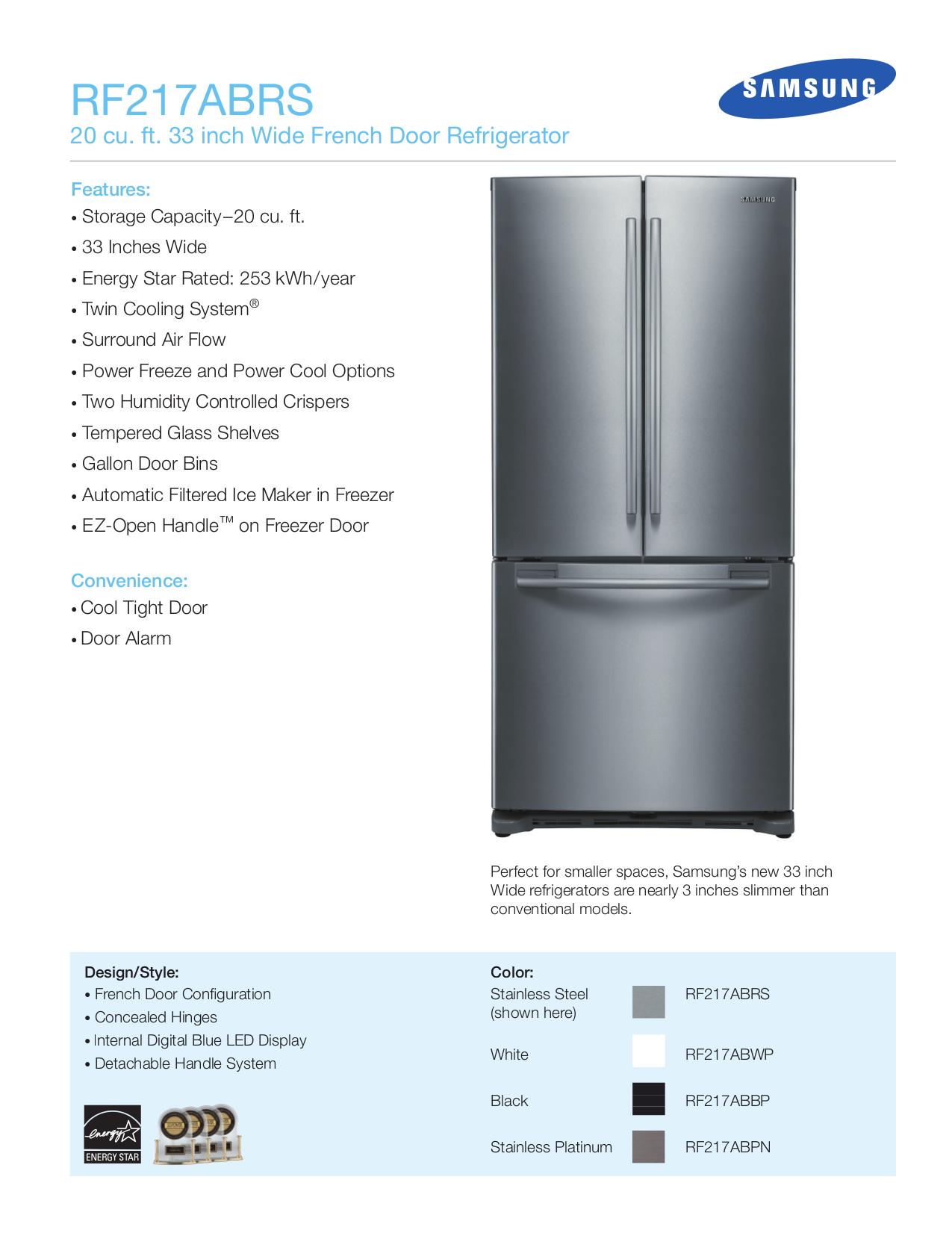pdf for Samsung Refrigerator RF217AB manual