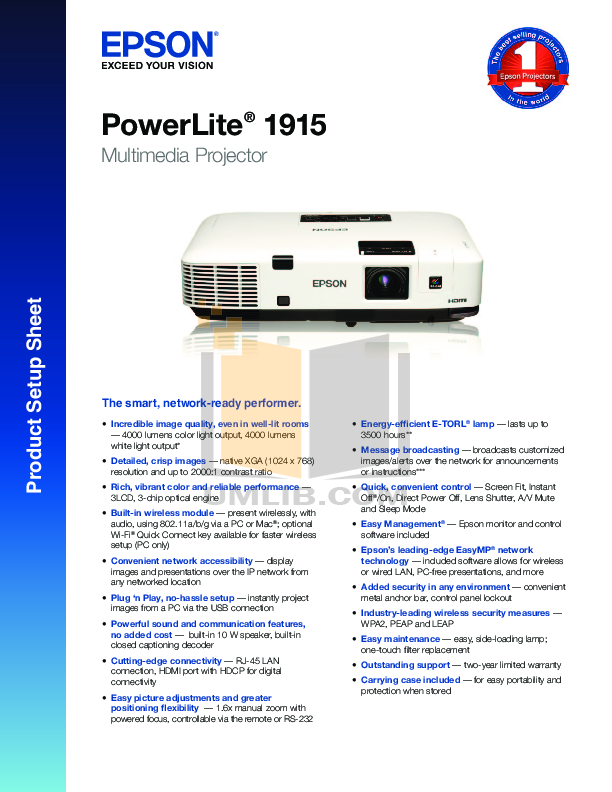 pdf for Epson Projector PowerLite 1915 manual