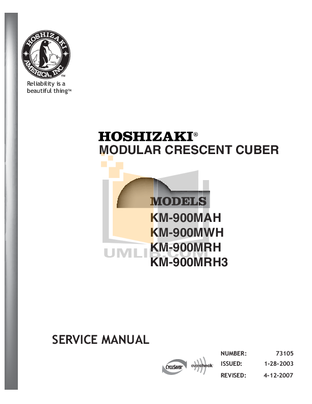 pdf for Hoshizaki Other KM-900MWH Cuber Machines manual