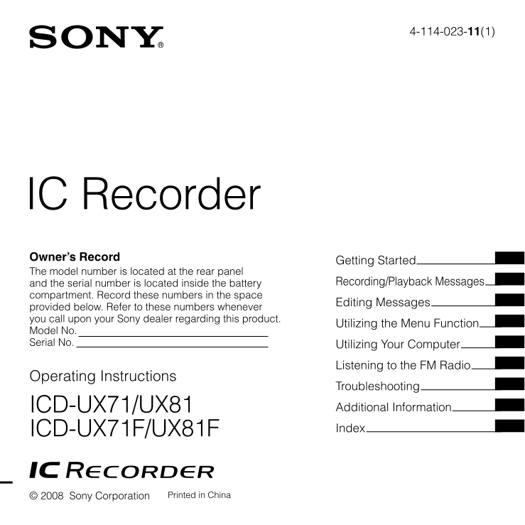download free pdf for sony icd ux71 voice recorder manual rh umlib com sony ic recorder icd-ux71 manual sony ic recorder icd-ux71 user manual