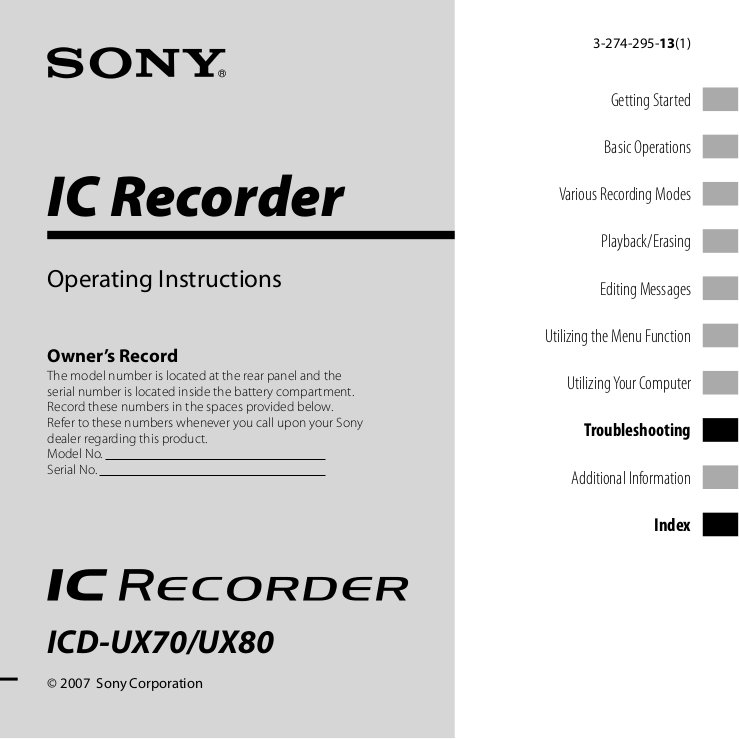 download free pdf for sony icd ux71 voice recorder manual rh umlib com sony ic recorder icd-ux71f software sony mp3 ic recorder icd-ux71 instructions