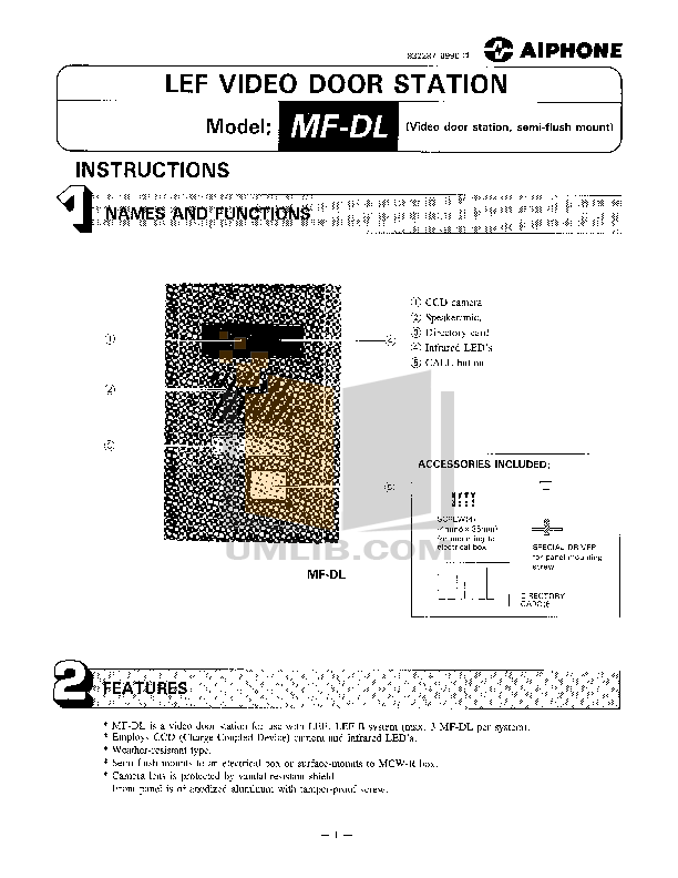 pdf for Aiphone Other MFW-P3 Intercoms-Accessory manual