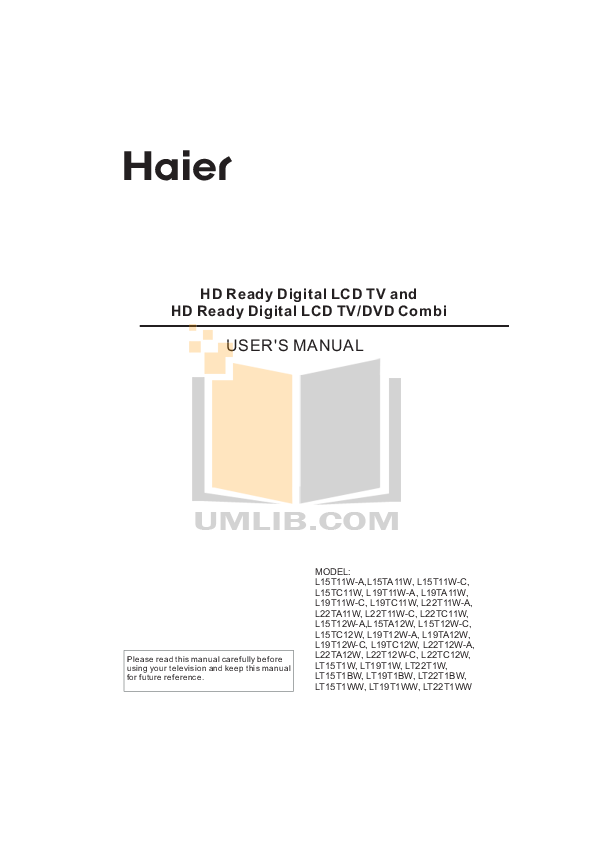 pdf for Haier TV L15TA12W manual