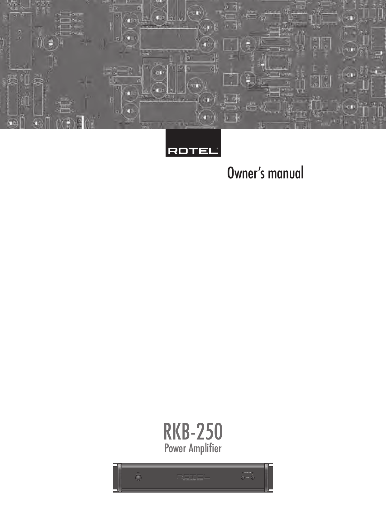 pdf for Rotel Amp RKB-250 manual