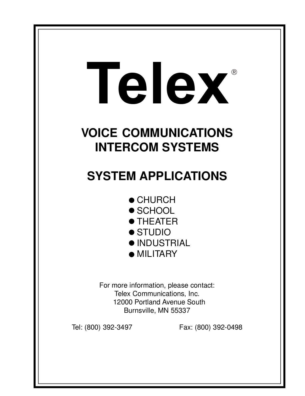 pdf for Telex Other IC-1 Intercom System manual