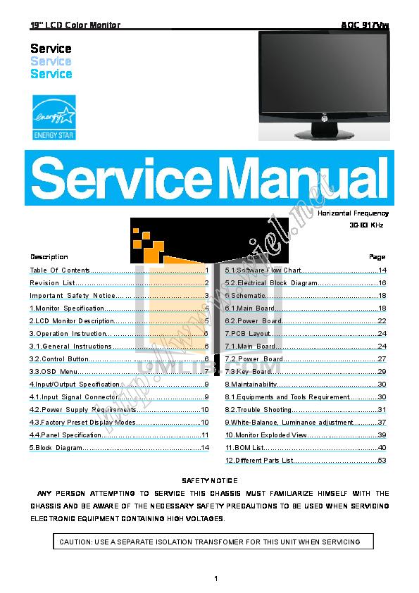 Download free pdf for AOC 917VW Monitor manual