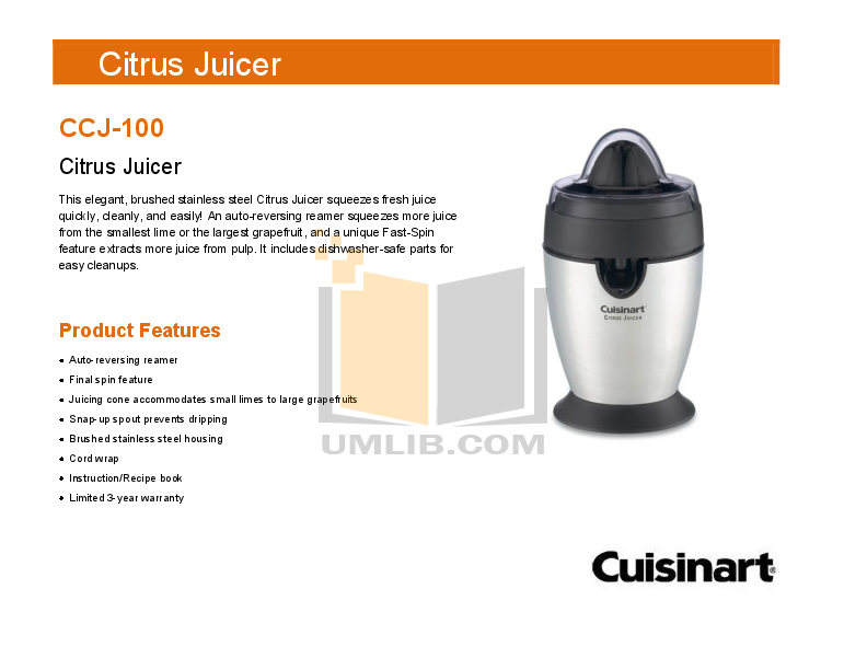 pdf for Cuisinart Juicer CCJ-100 manual