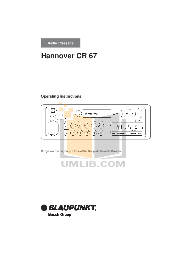 pdf for Blaupunkt Other Mesa CR67 Car-audio manual