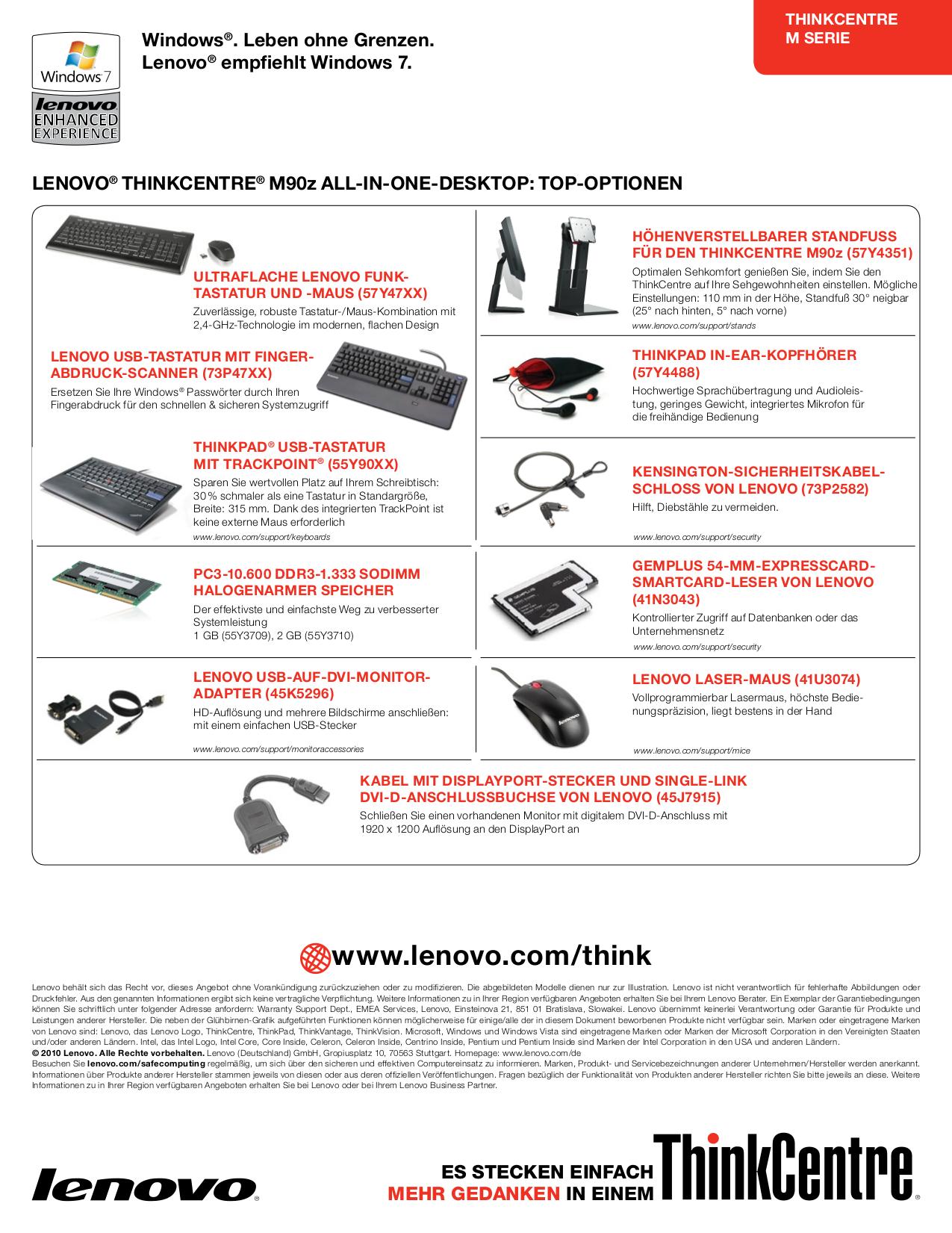 Lenovo Desktop ThinkCentre M90z 3650 pdf page preview